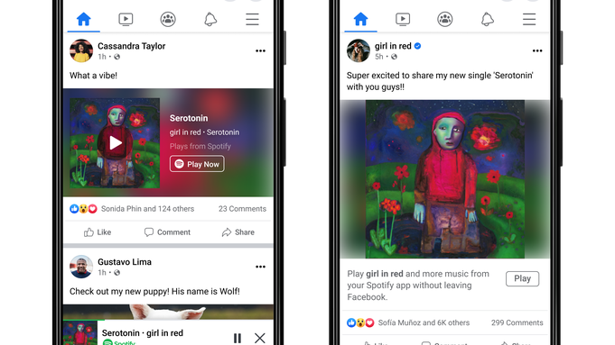 Facebook Melodiile Spotify Ascultate Intregime miniplayer