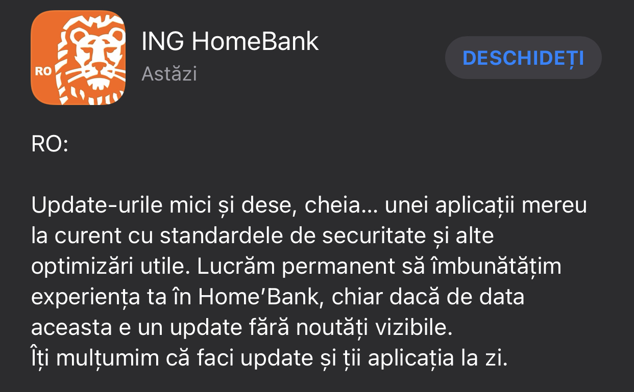 ING Bank optimizari aplicatie