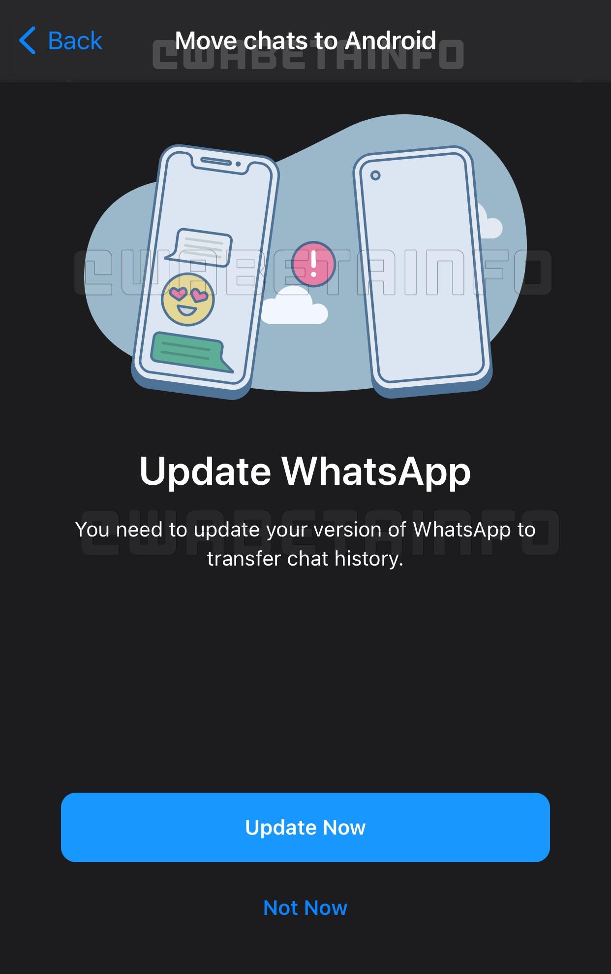 WhatsApp migrare conversatii iphone android