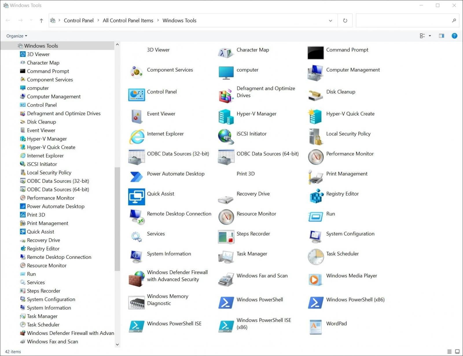 Windows 10 ustensile control panel