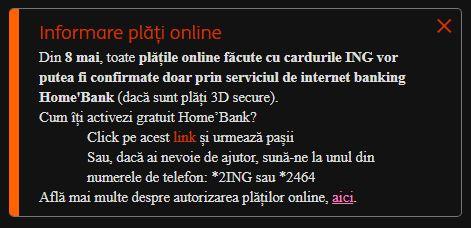 ING Bank restrictionare plati online