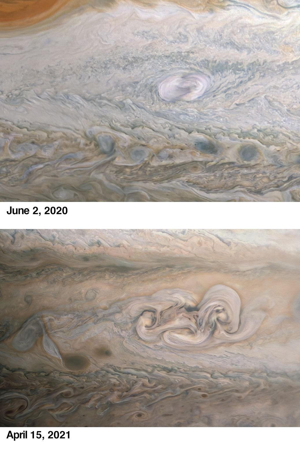 Planeta Jupiter spirala furtuna