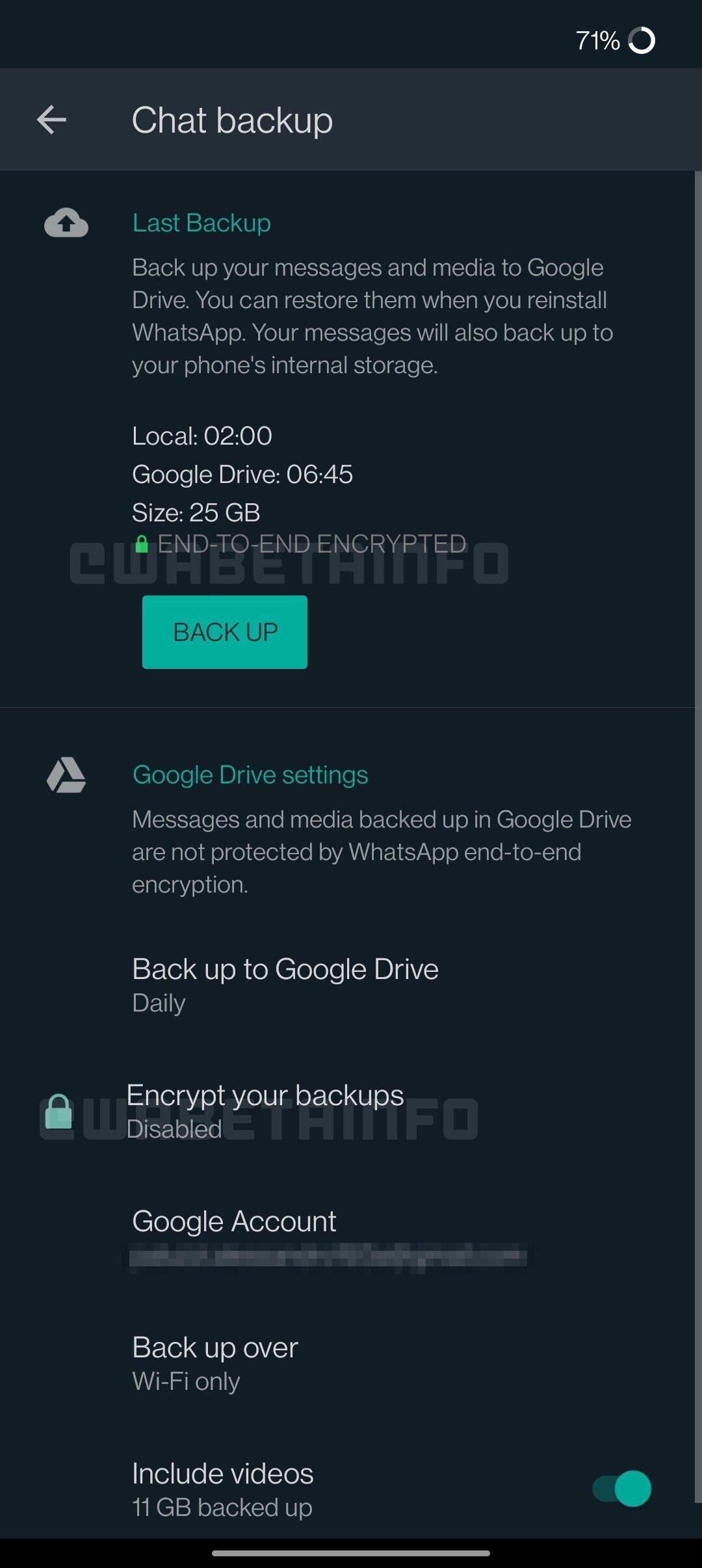 WhatsApp enclava criptata
