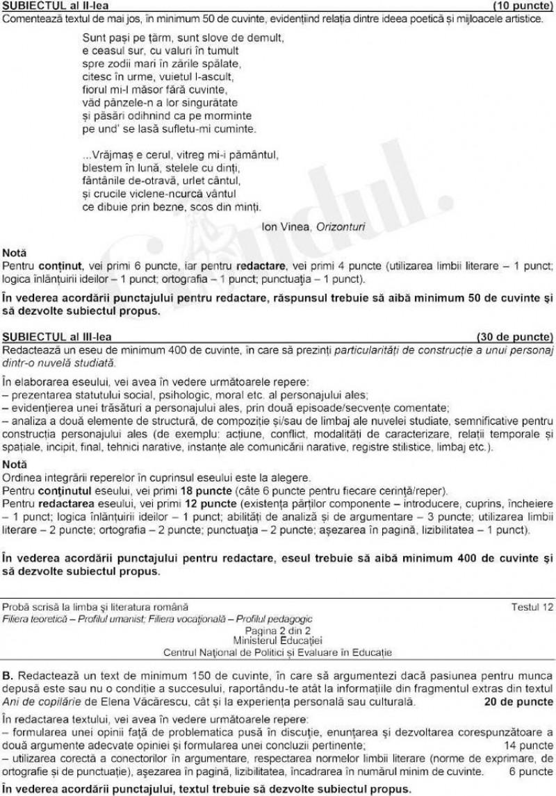 BAC 2021 Subiecte romana profil uman subiect 2