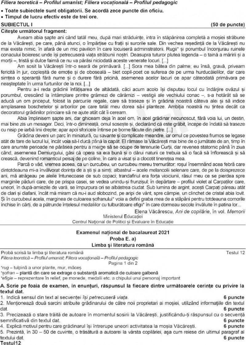 BAC 2021 Subiecte romana profil uman