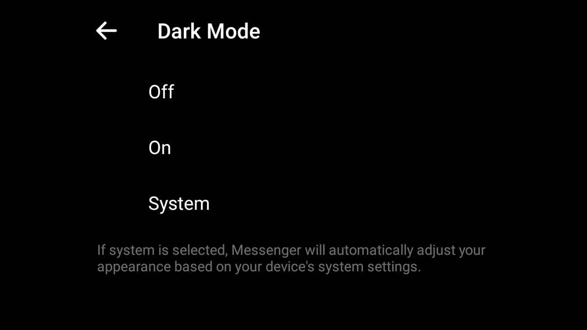 Facebook dark mode sistem android
