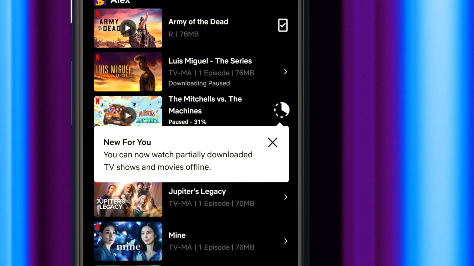 Netflix partial redare