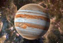 Planeta Jupiter vapori