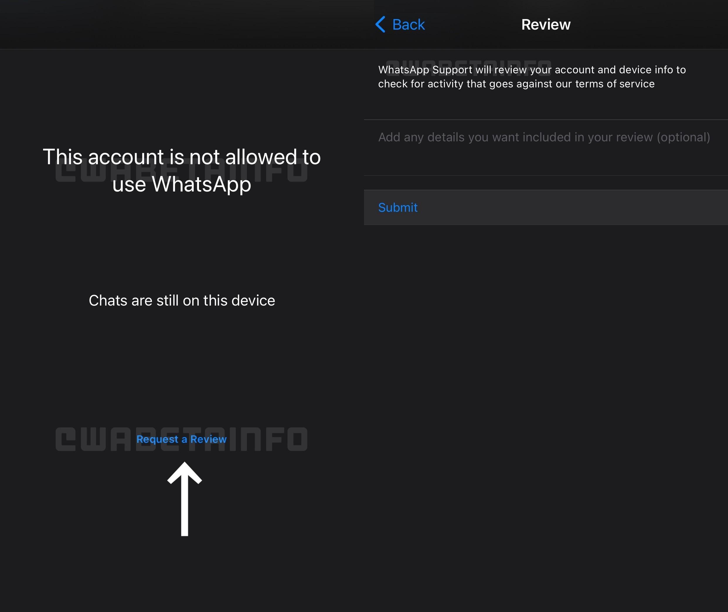 WhatsApp reactivare cerere