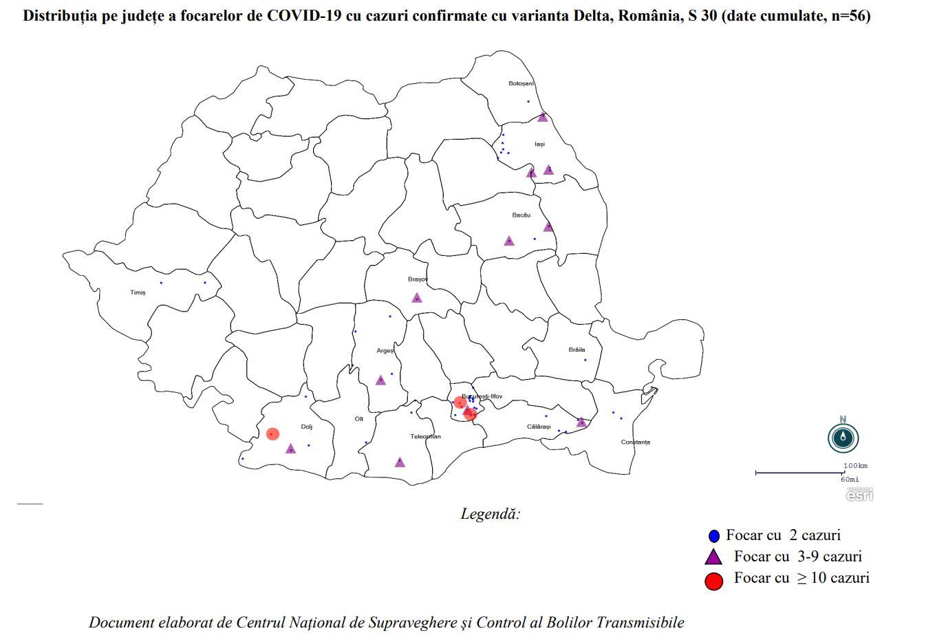 Guvernul Romaniei zonele romania cazuri coronavirus delta harta