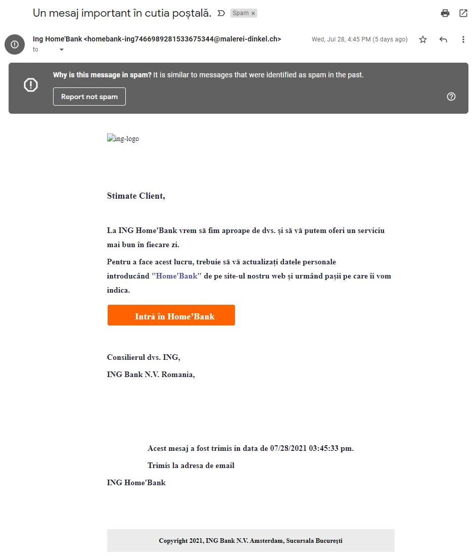 ING Bank imitare acces