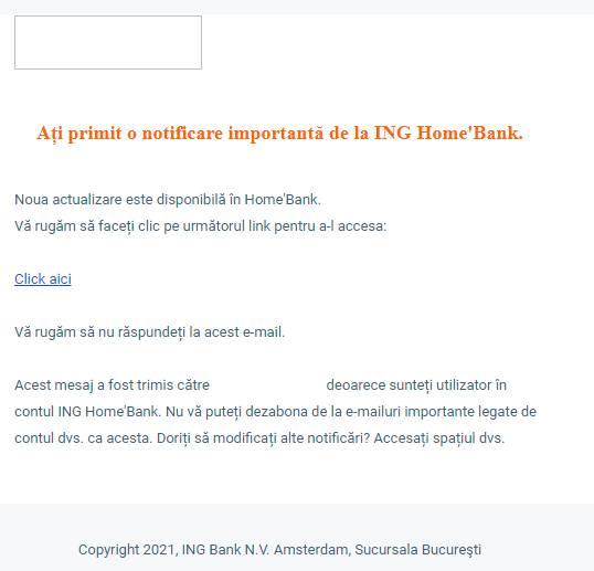 ING Bank notificari phishing